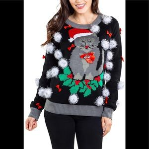 NWOT Tipsy Elves ugly cat Christmas sweater